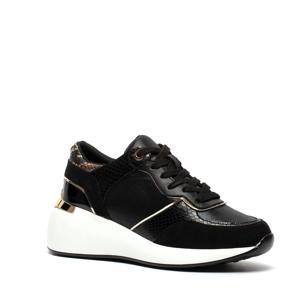 chunky sneakers met slangenprint zwart