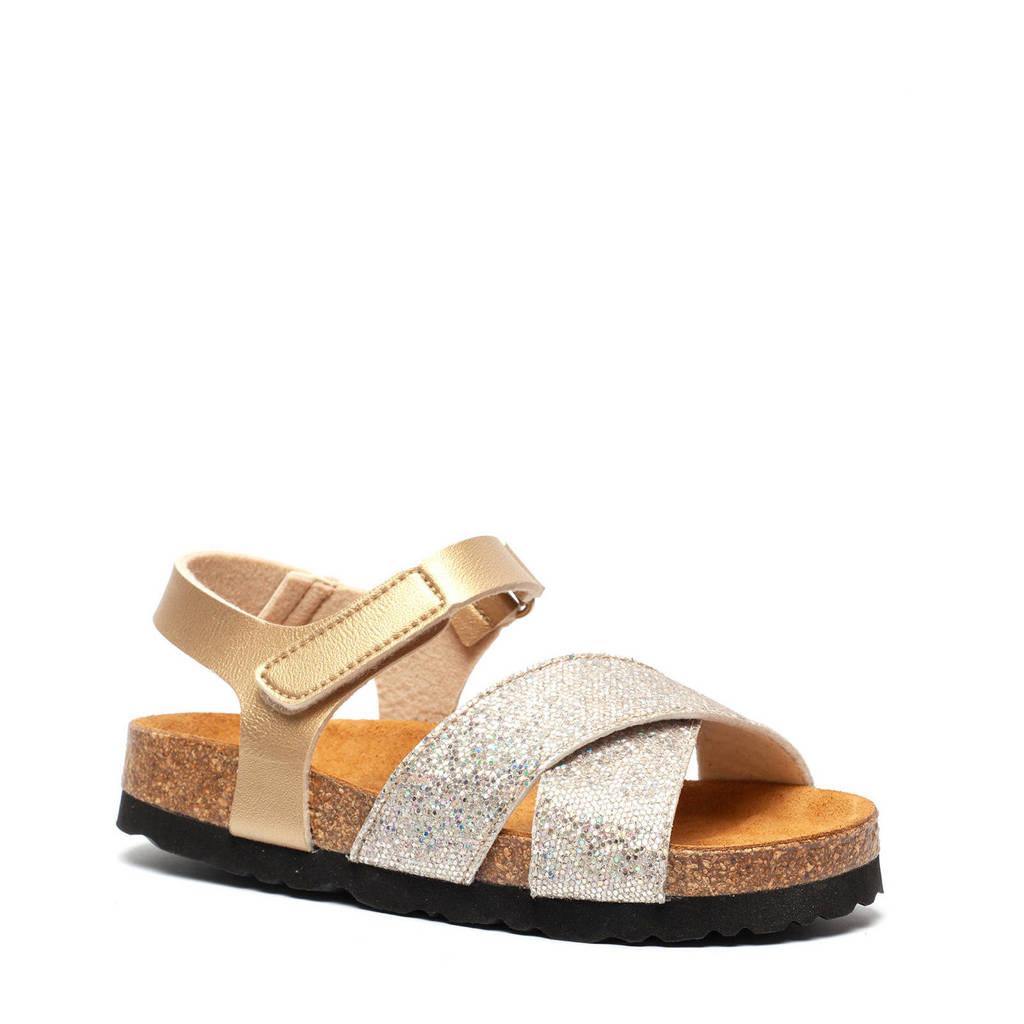 Hush Puppies   sandalen met glitters goud/zilver, Goud/zilver