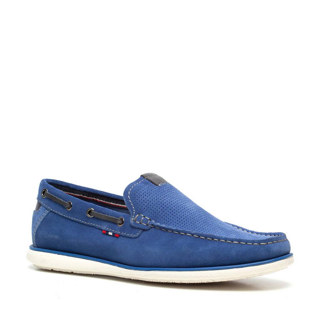 Scapino Van Beers   suède mocassins blauw, Blauw