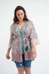 MS Mode vest met paisleyprint ecru/roze/petrol, Ecru/roze/petrol