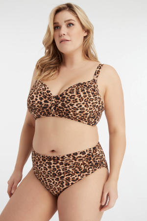 beugel bikinitop met panterprint bruin/zwart