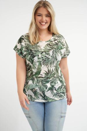 T-shirt met bladprint multi