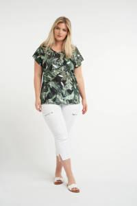 MS Mode T-shirt met bladprint zwart/groen, Zwart/groen