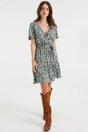 jurk met all over print en volant donkergroen/wit