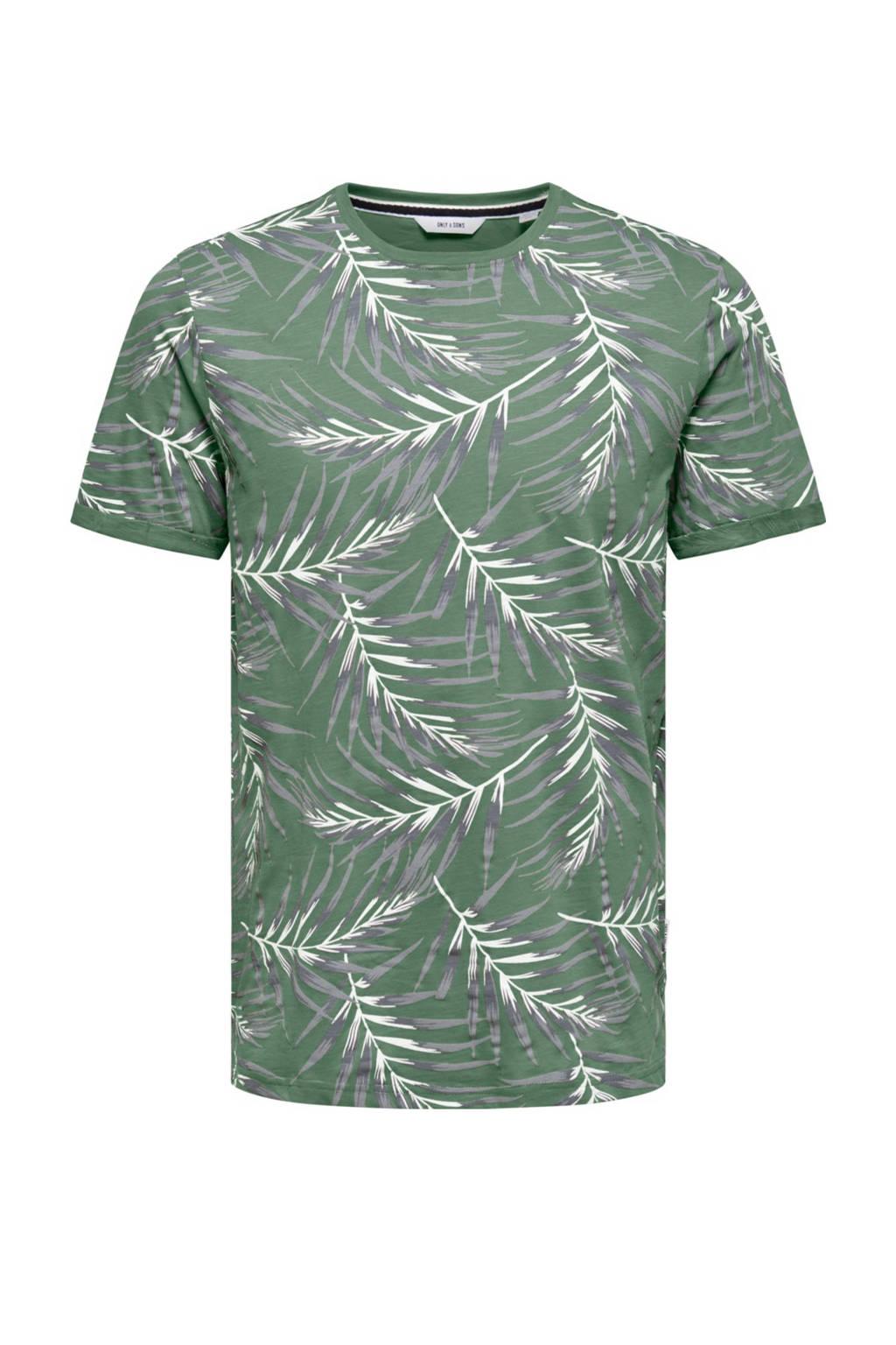 ONLY & SONS T-shirt met bladprint groen, Groen