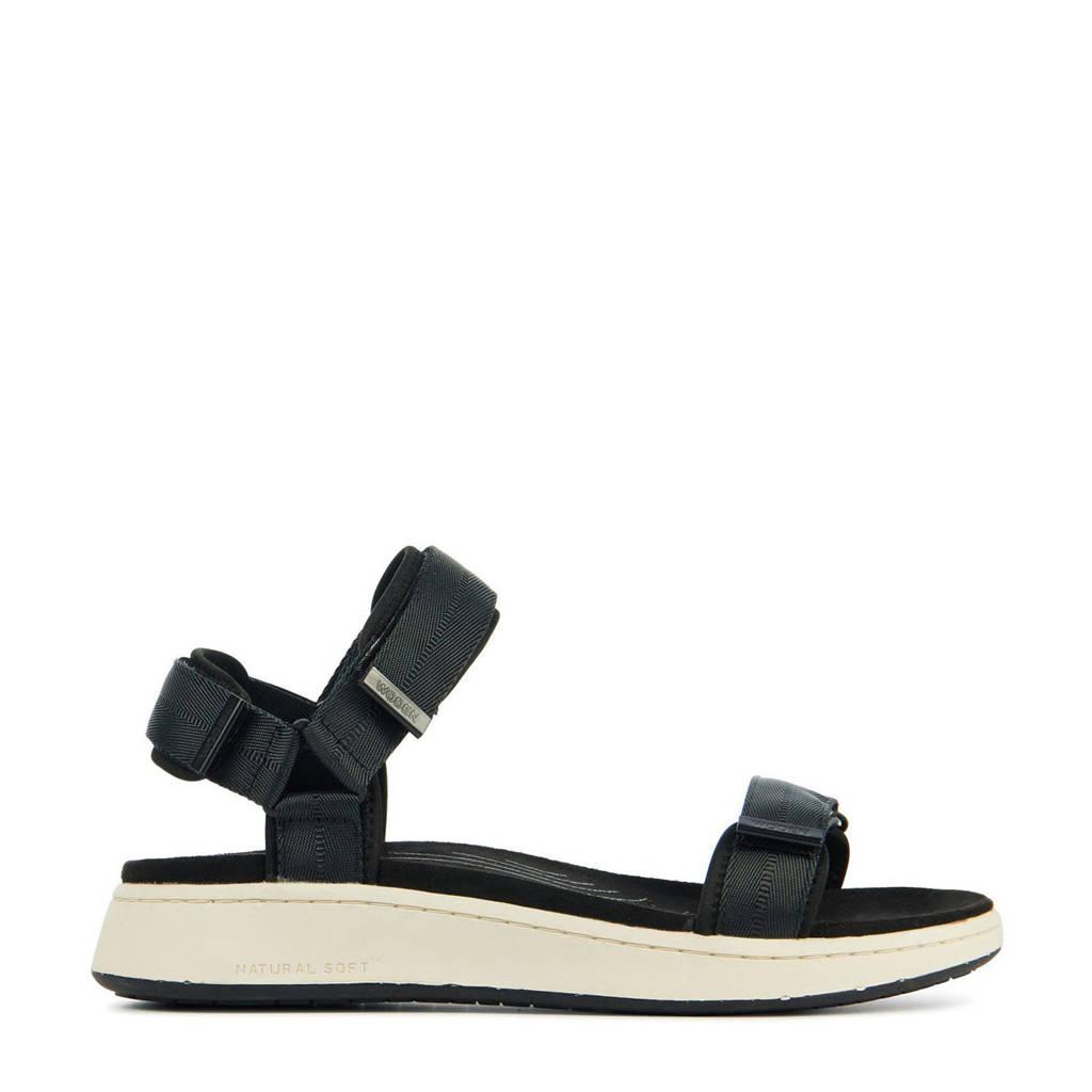 Woden Line  sandalen zwart, Zwart