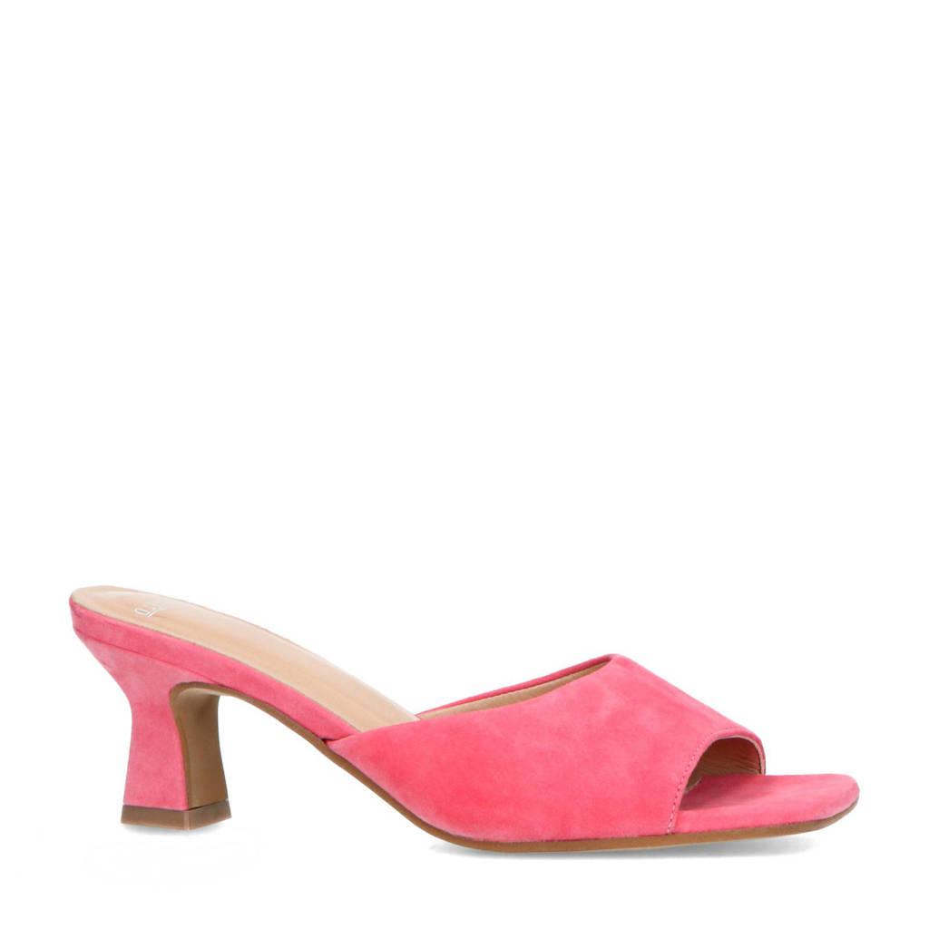 Manfield   suède muiltjes roze, Roze