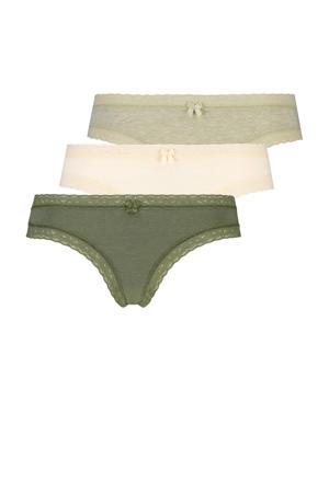 slip Beautiful (set van 3) groen/ecru/beige