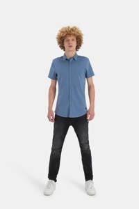 Shoeby Refill regular fit overhemd Dyon met all over print blauw, Blauw