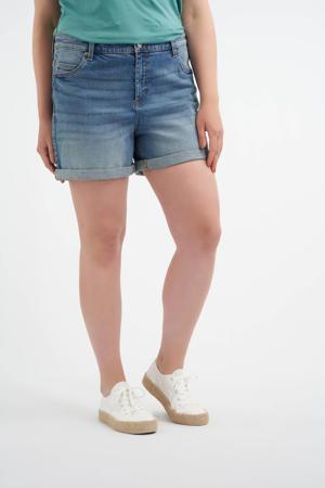 slim fit jeans short stonewashed denim
