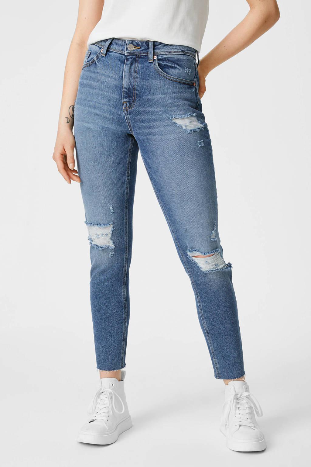 C&A Clockhouse high waist slim fit jeans blauw, Blauw