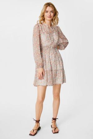 gebloemde semi-transparante A-lijn jurk wit/oudroze/rood