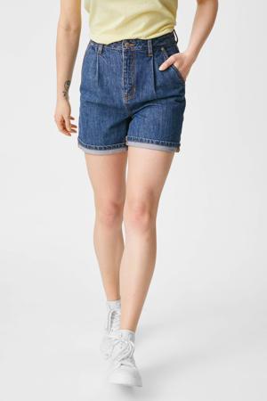 high waist straight fit broek blauw
