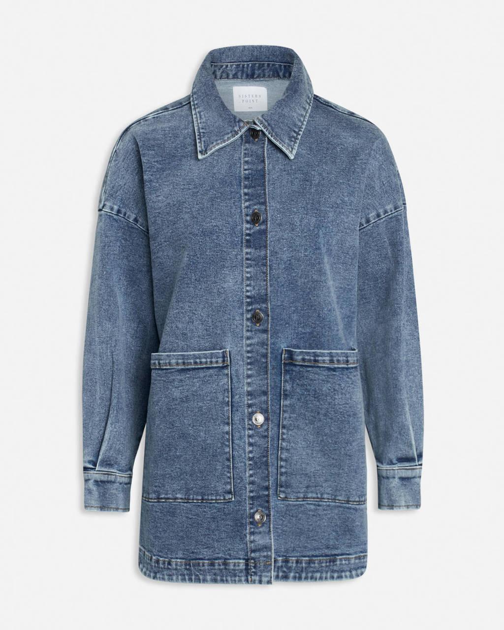 SisterS Point lange dunne spijkerjas vintage blauw, Blauw