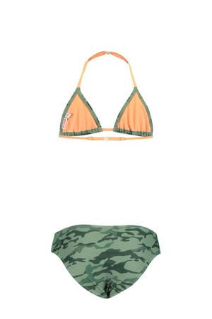 triangel bikini Yoella met camouflage print groen/zwart