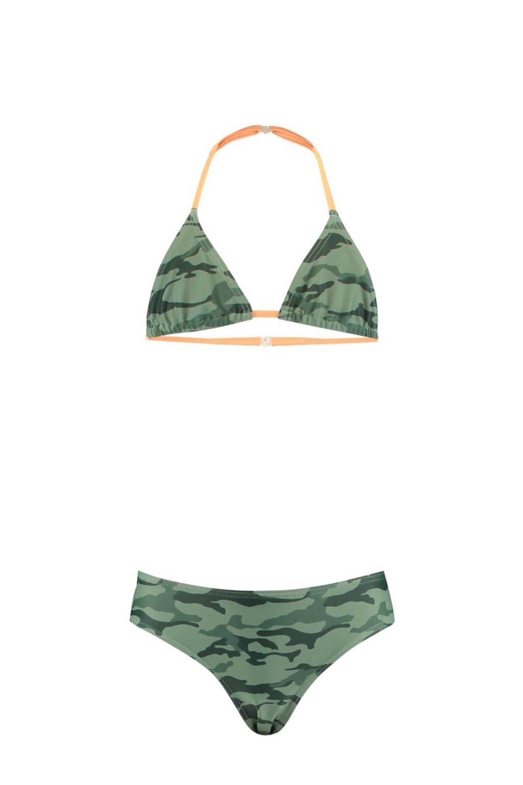 CoolCat Junior triangel bikini Yoella met camouflage print groen/zwart, Groen/zwart