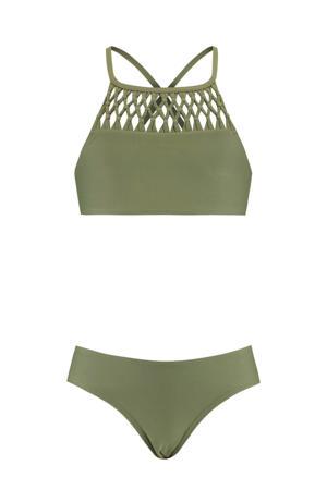 crop bikini met gevlochten details groen