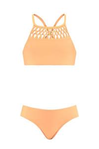 CoolCat Junior crop bikini met gevlochten details zachtoranje, Zachtoranje
