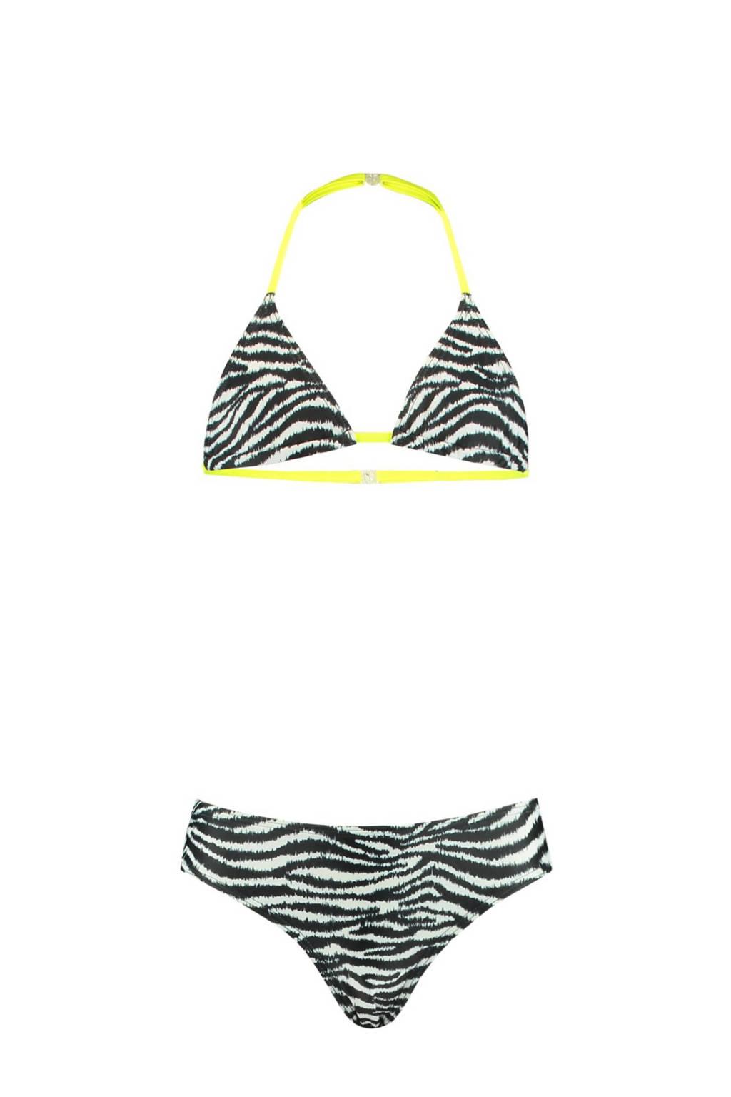 CoolCat Junior triangel bikini Yoella met zebraprint zwart/wit, Zwart/wit