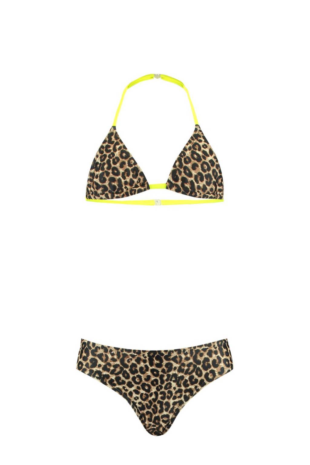 CoolCat Junior triangel bikini Yoella met panterprint bruin/zwart, Bruin/zwart
