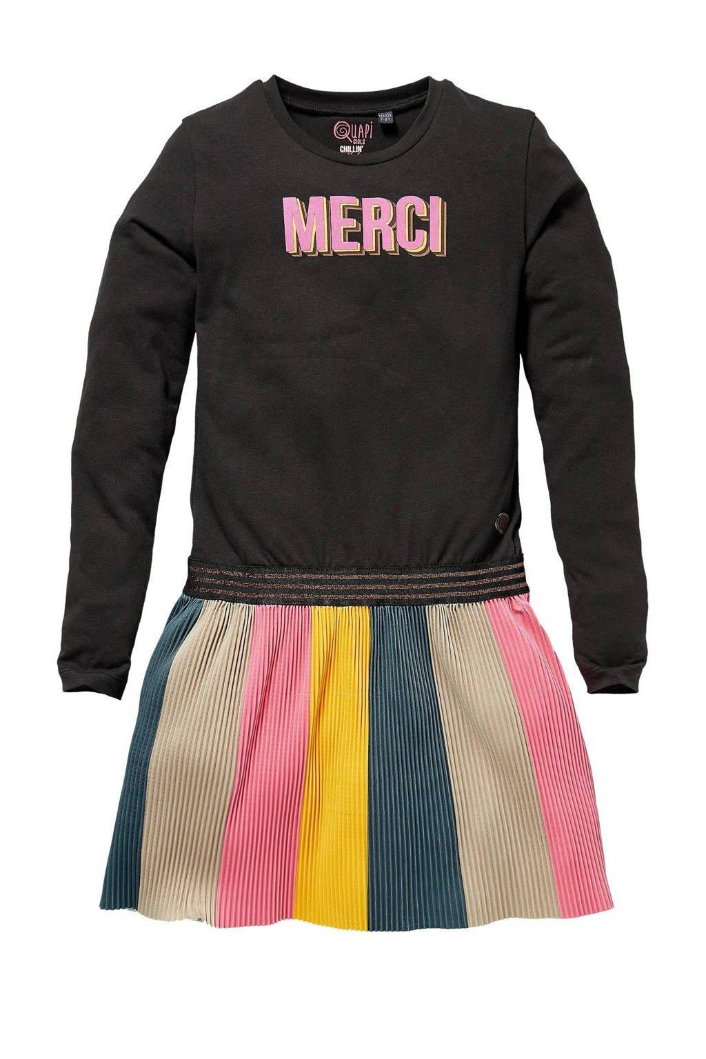 Quapi Girls gestreepte jurk Karen antraciet/multicolor, Antraciet/multicolor