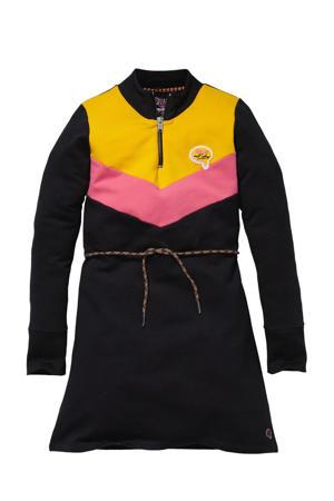 jurk Kaira antraciet/roze/geel