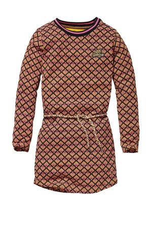 jurk Kaat met all over print bruin/paars