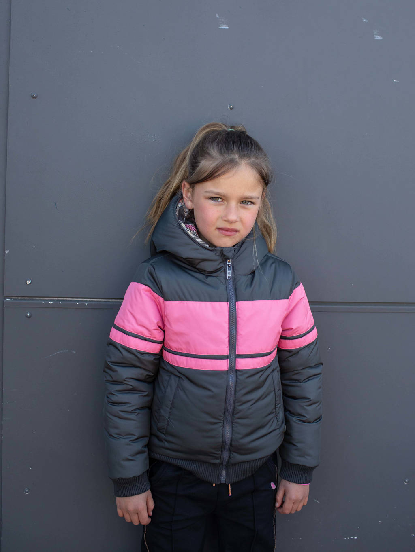 Quapi Girls reversible gewatteerde jas Kaylen roze/donkerblauw, Roze/donkerblauw
