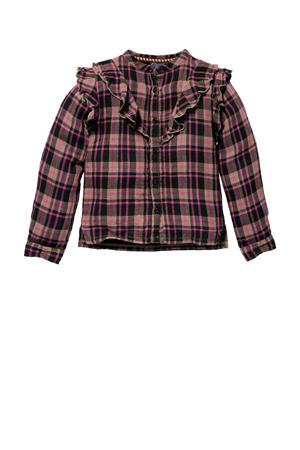 geruite blouse Katinka zand/roze
