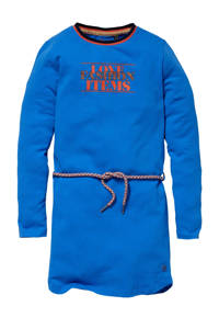 Quapi Girls jurk Kaat met tekst hardblauw, Hardblauw