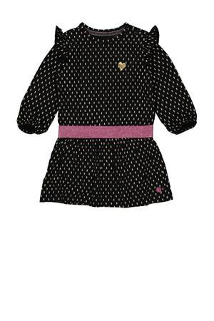 jurk Lavina met all over print en glitters zwart/wit/roze