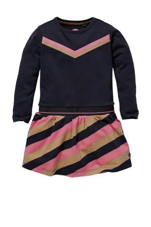 gestreepte jurk Lauren donkerblauw/zand/fuchsia