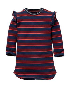 gestreepte jurk Lieke rood/donkerblauw