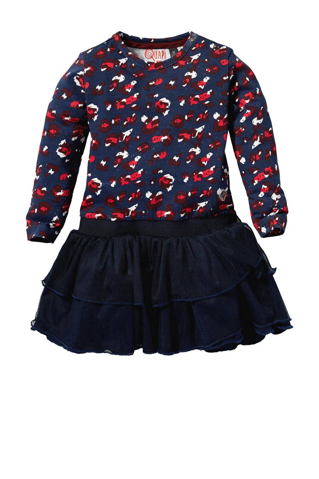 Quapi Mini jurk Laurie met all over print donkerblauw/rood/wit, Donkerblauw/rood/wit