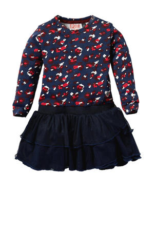 jurk Laurie met all over print donkerblauw/rood/wit