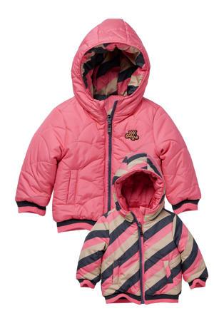 gestreepte reversible gewatteerde jas Laure roze/zand/zwart