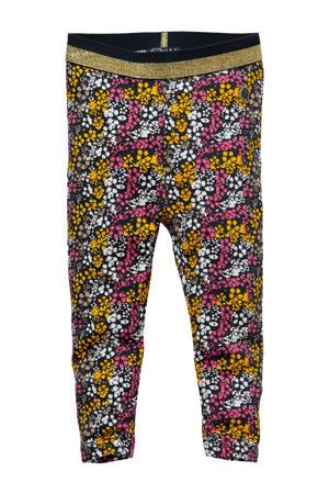 gebloemde regular fit legging Livia roze/geel/antraciet