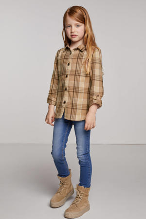 geruite blouse Katja zand/bruin