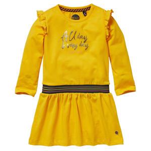 jurk Larissa met tekst en ruches geel