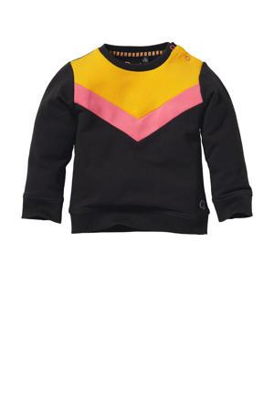 sweater Liene antraciet/roze/geel