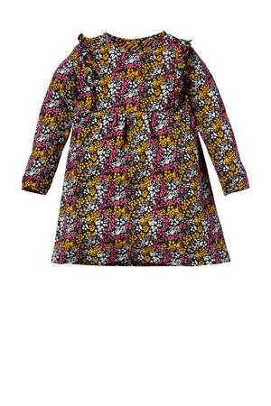 gebloemde A-lijn jurk Laura roze/geel