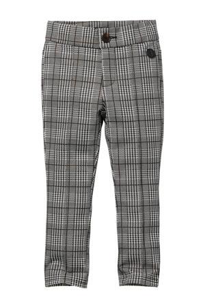 geruite regular fit broek Sophia grijs/zwart