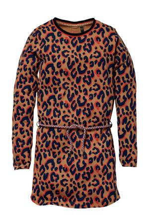 jurk Kaat met panterprint camel/rood/zwart