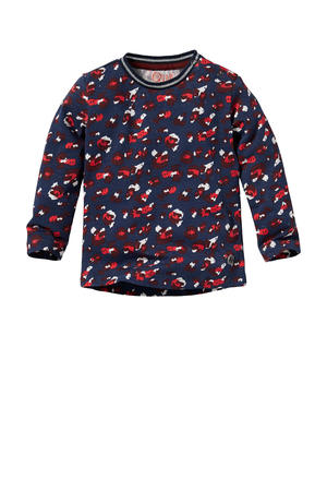 longsleeve Lieve met all over print donkerblauw/rood/wit