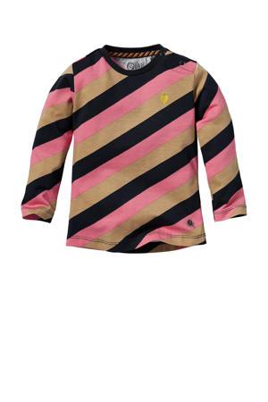 gestreepte longsleeve Lexie roze/zand/zwart
