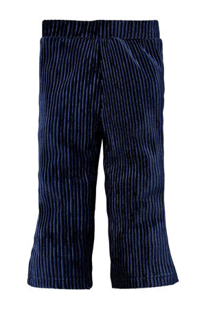 gestreepte regular fit broek Lorena donkerblauw