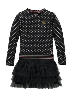 jurk Karica met all over print en mesh antraciet/zwart
