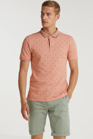 regular fit polo WOLF met contrastbies dusty pink