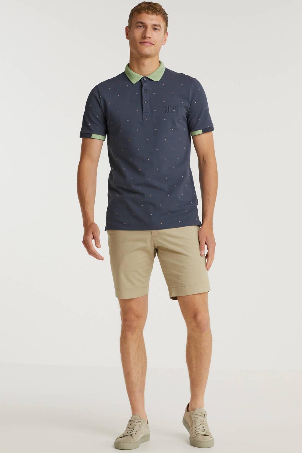Kultivate regular fit polo met contrastbies grijsblauw, Grijsblauw