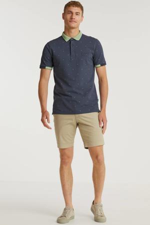 regular fit polo met contrastbies grijsblauw